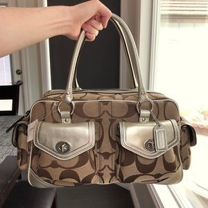 Coach signature large satchel with gold leather